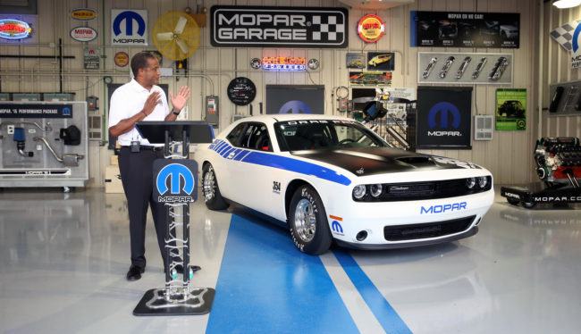 Chelsea – June 25, 2015 – Ross McGinnis, Vice President — Mopar Sales and Product Development, unveiled the next-generation Mopar Dodge Challenger Drag Pak, a factory-prepped package car specifically geared for drag racing. The vehicle is built on the Dodge Challenger platform and will come with the option of either the brand's first ever offering of a supercharged 354-cubic-inch Gen III HEMI® engine or a naturally aspirated 426-cubic-inch Gen III HEMI engine.