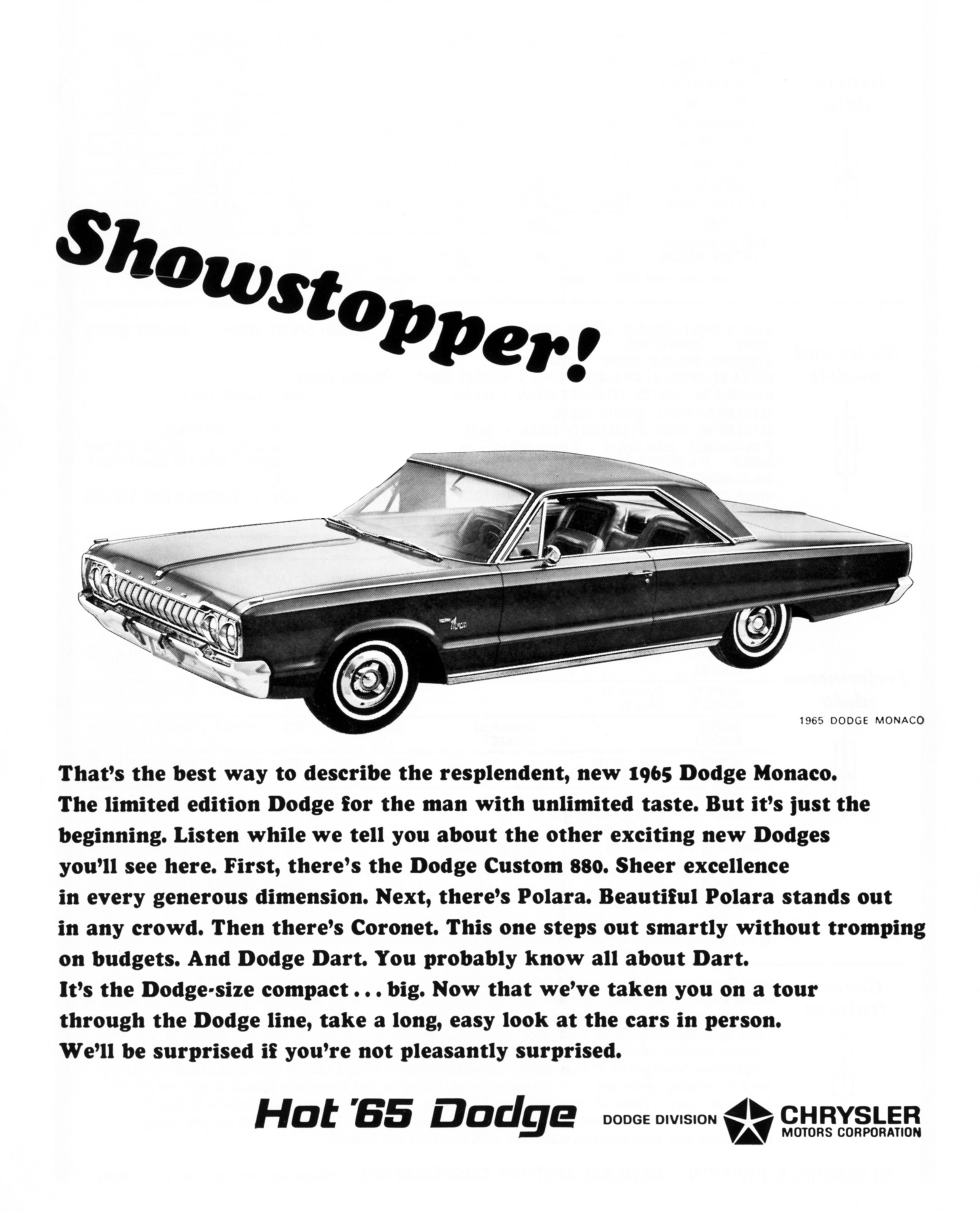 1965 Dodge Monaco advertisement