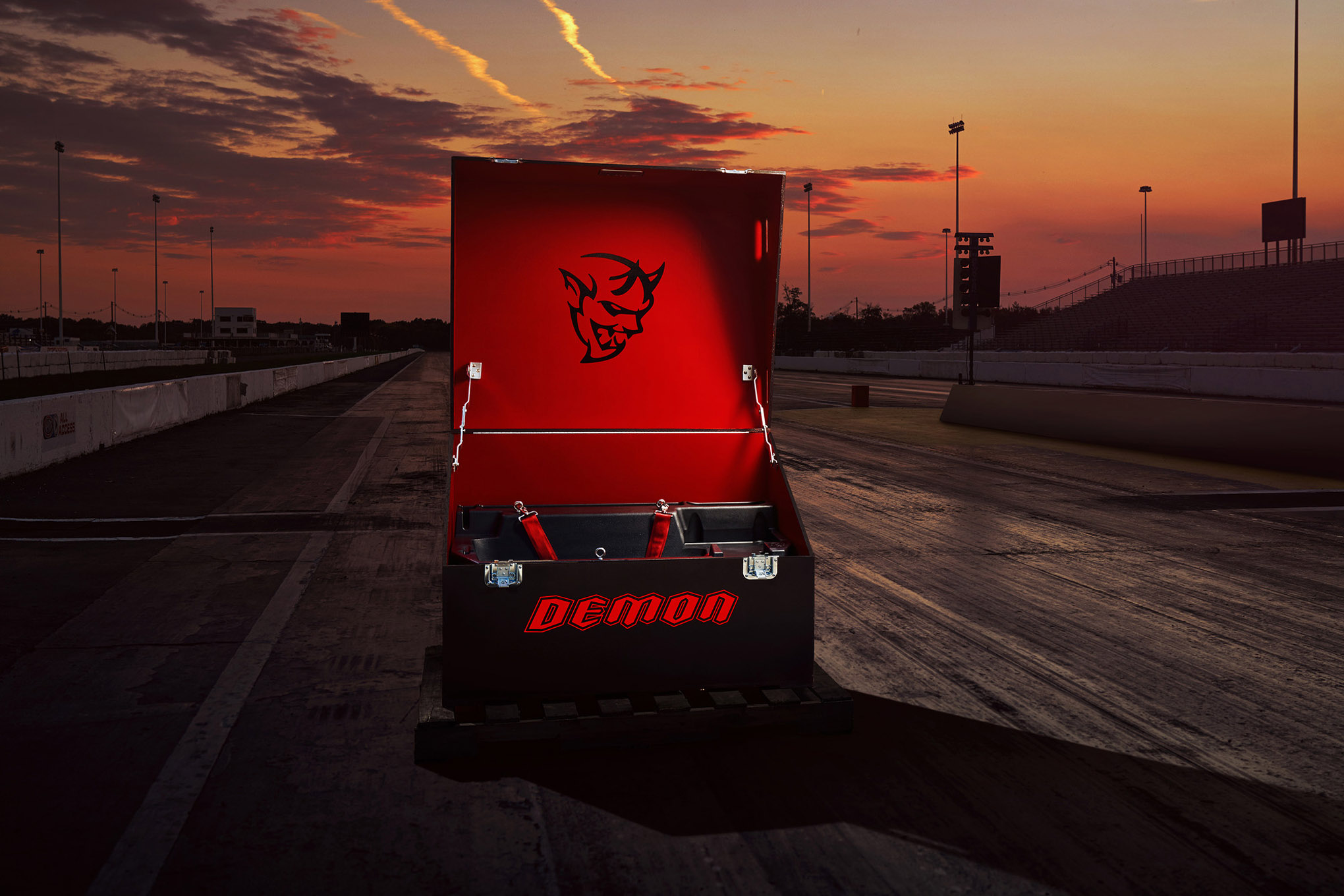 The Demon Crate holds 18 components that maximize the 2018 Dodge