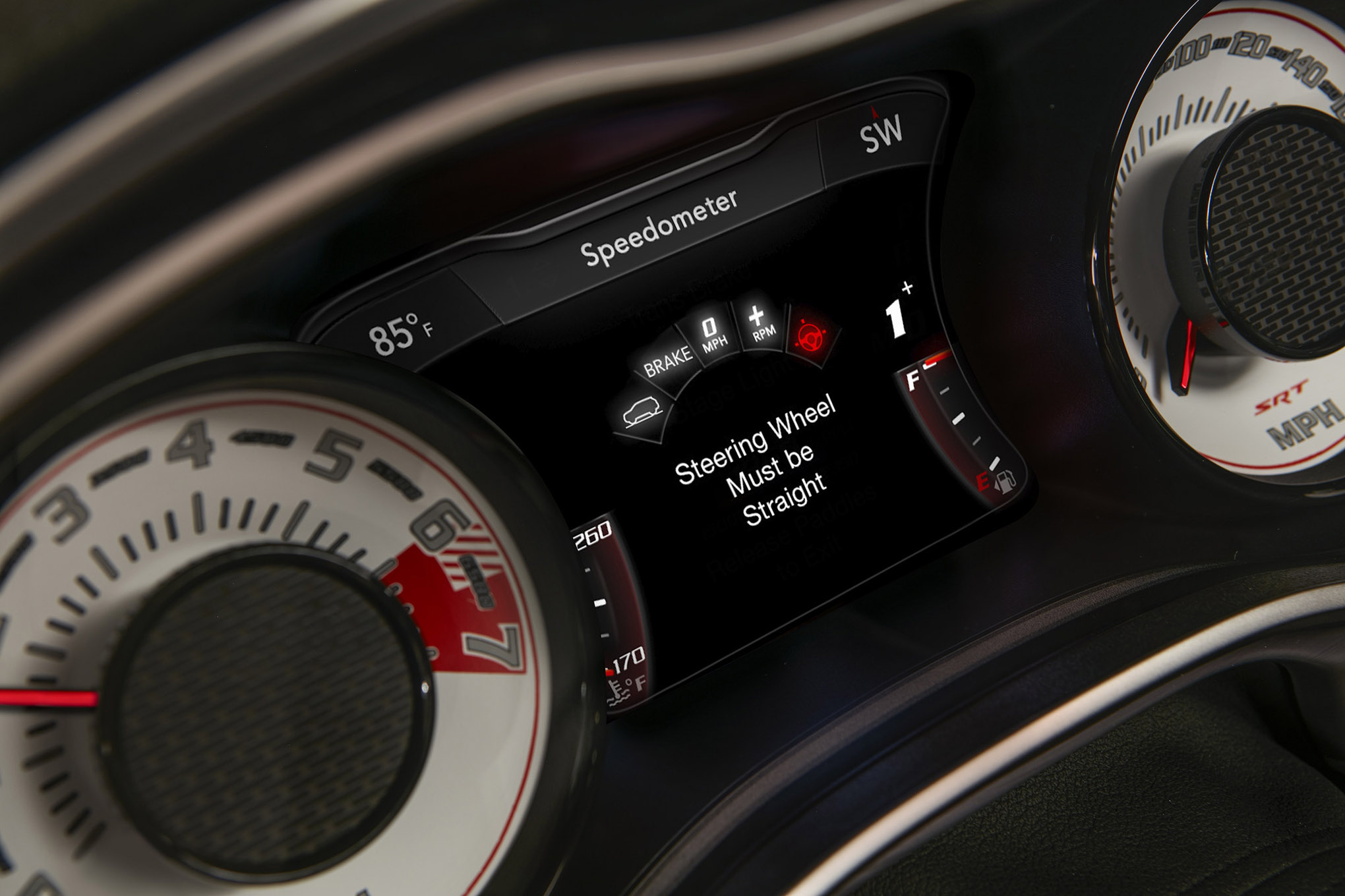 The TransBrake⢠set-up screen on the 2018 Dodge Challenger SR