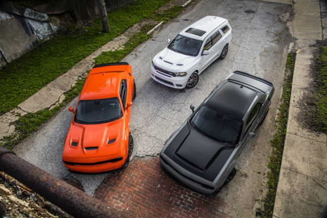 From left to right: 2018 Dodge Challenger SRT Hellcat Widebody, 2018 Dodge Durango SRT and 2018 Dodge Challenger SRT Demon.