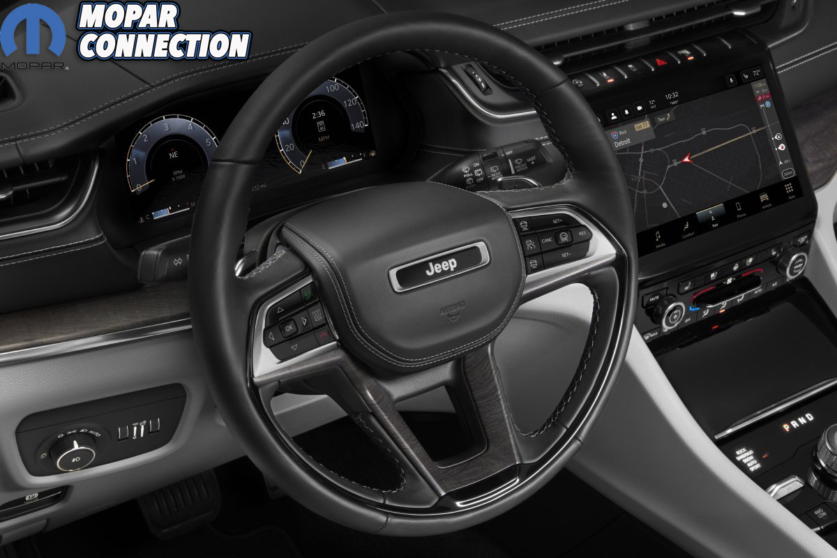 The all-new 2021 Jeep® Grand Cherokee L Overland leather-wrappe